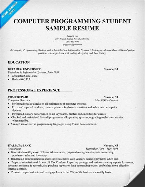 Resume Sample Computer Programming Student (http. Text Resume Builder. College Student Resume Template For Internship. Resume Samples For Sales Representative. Skills Used In Resume. Resume Objective Statements Samples. Professional Format For Resume. Sample Of Resume With References. What Is Reference In Resume