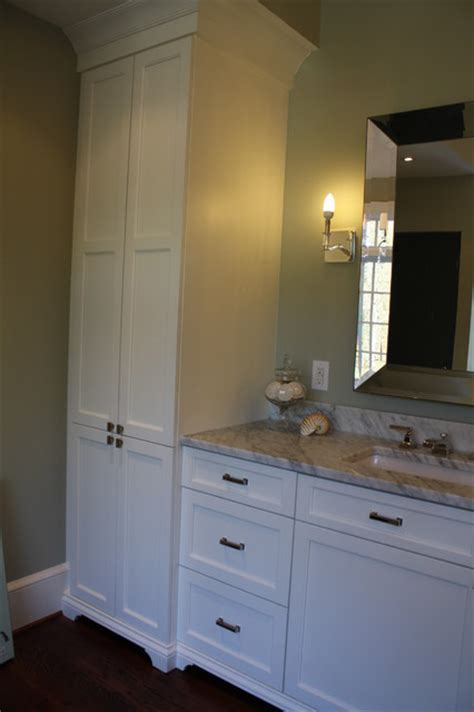 matching his and master bath vanities and towers eclectic bathroom by