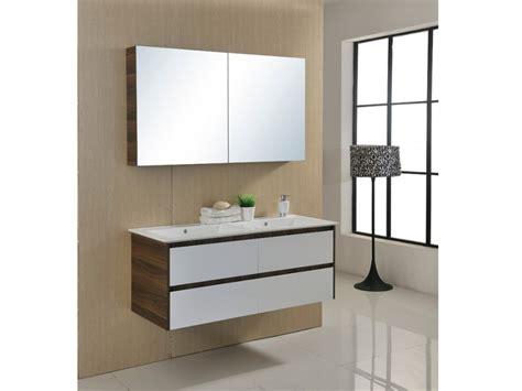 ensemble de salle de bain adele suspendu en mdf avec vasque meuble bas et miroir