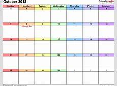 October 2018 Calendar PDF blank calendar templates
