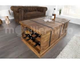 table basse coffre de rangement en bois nicolo en bois et m 233 tal table basse de haute qualit 233