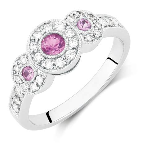 Ring With Pink Sapphire & 14 Carat Tw Of Diamonds In 10ct