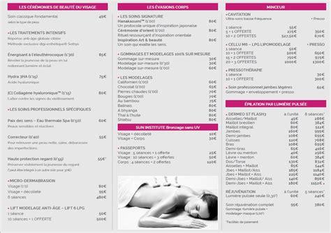 tarif institut de beaut 233 soin en image