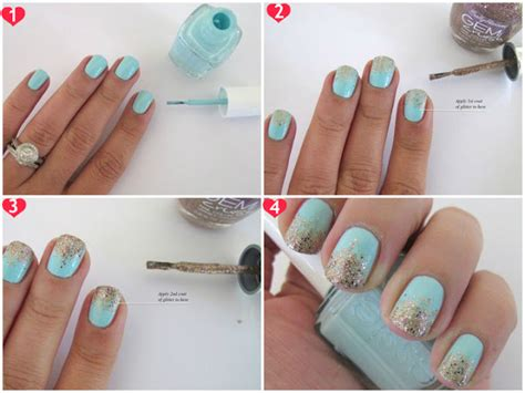 Mint And Gold Gradient Glitter Nail Art Tutorial |makeup