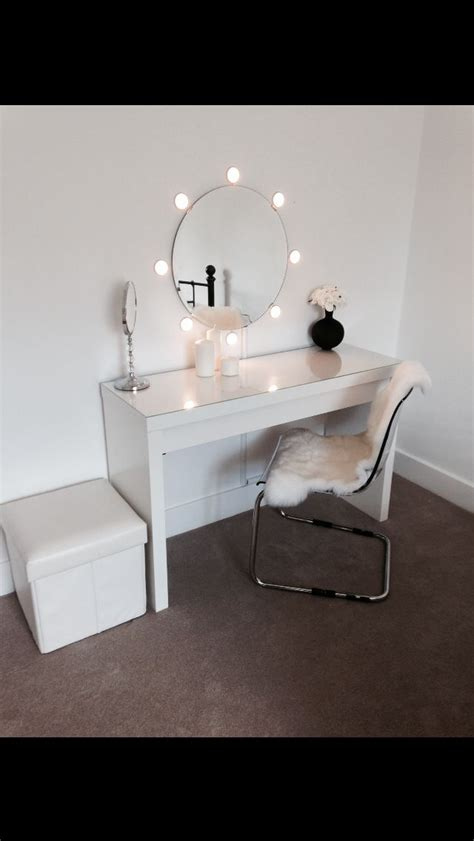 ikea malm dressing table with mirror and lights ideal for dressing room around the