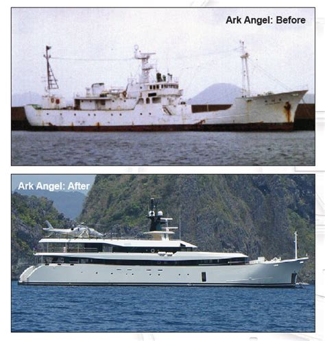 Ark Angel Boat by 55m Motor Yacht Ark Angel Ex Galapagos Before And After