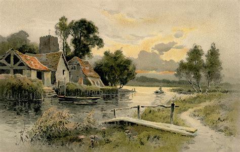 carte postale ancienne peinture de la maison sur le lac cartes postales anciennes