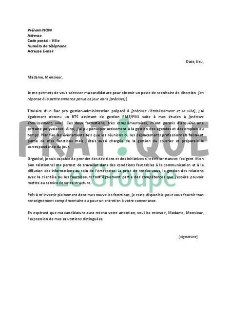 lettre de motivation pour un emploi de secr 233 taire de direction d 233 butant pratique fr