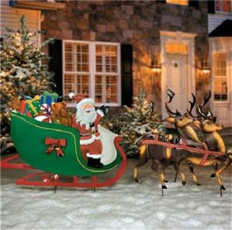 Santa Sleigh Outdoor Decoration by Old Fashioned Santa Claus Reindeer Sleigh Metal Yard Art