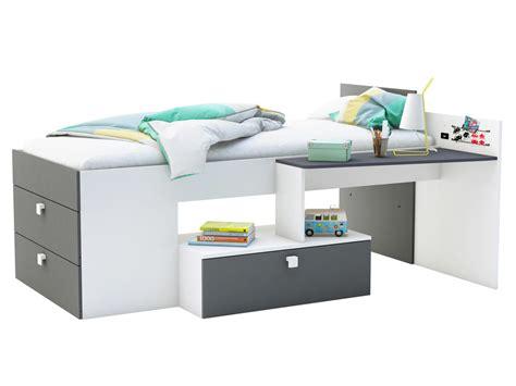 lit combin 233 couchage mono avec bureau et 3 tiroirs lit enfant delamaison ventes pas cher