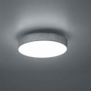 Deckenlampe Mit Led : led deckenlampe in runder form mit stoffschirm in grau ~ Whattoseeinmadrid.com Haus und Dekorationen