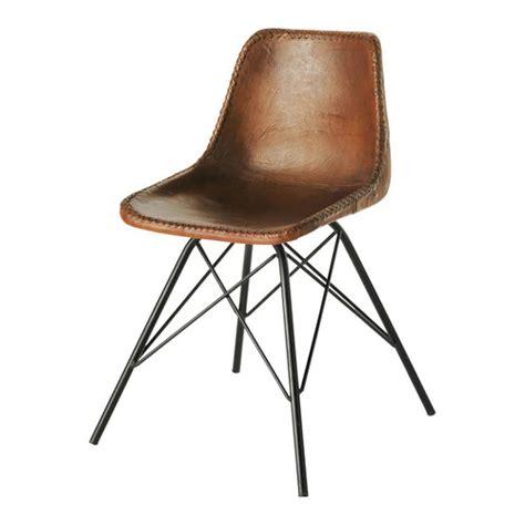 chaise indus en cuir et m 233 tal marron austerlitz more industrial chair and brown leather