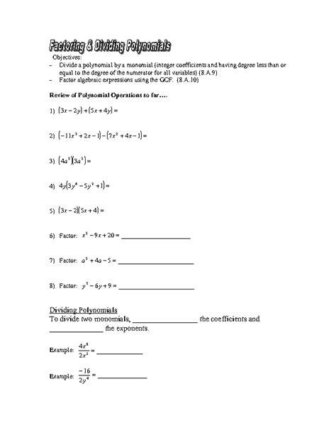 Printable Worksheets » Worksheets On Polynomials For Grade 9  Printable Worksheets Guide For