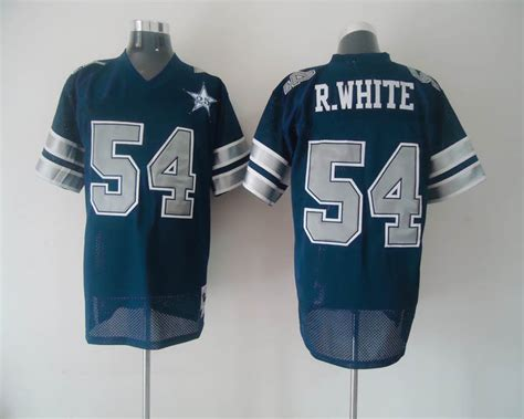 Mitchell & Ness Cowboys #54 R.white Blue With 25th Patch