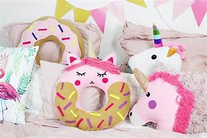 Kissen Nähen Ideen : diy donut kissen mit einhorn motiv selber machen anleitung ohne n hen ~ Markanthonyermac.com Haus und Dekorationen
