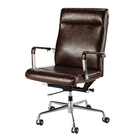 fauteuil de bureau 224 roulettes marron vintage maisons du monde