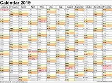 Free Template Get Yearly Calendar 2019 Template with SA
