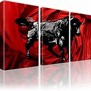 Bild 3 Teilig Auf Leinwand : xxl stier bild auf leinwand 3 bilder kunstdruck eur 59 99 picclick de ~ Markanthonyermac.com Haus und Dekorationen