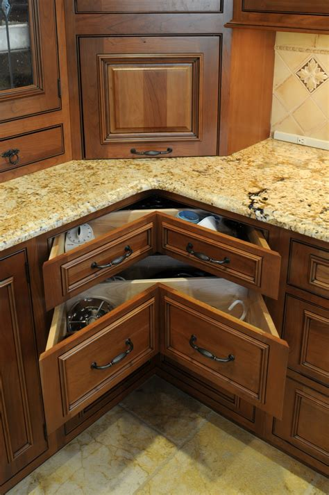 Unique Triangle Shaped Drawers In Short Kitchen Corner