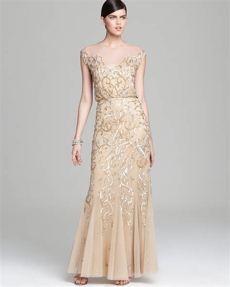 Adrianna Papell Beaded Boat Neck Cap Sleeve Gown by Aidan Mattox Gown Cap Sleeve Beaded Blouson Bloomingdale S