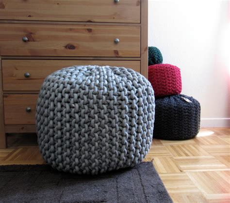 knit rope pouf pattern by knits modern floor pillows and poufs by etsy