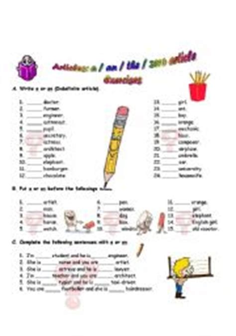 English Worksheets Definite And Indefinite Articles