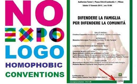 expo il patrocinio expo al convegno omofobo viola le stesse regole adottate da expo