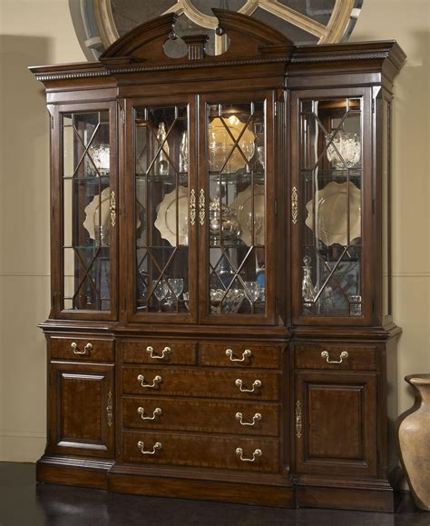 american cherry andover breakfront china cabinet with mirrored back panel by furniture