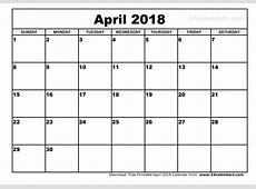 April 2018 Printable Calendar calendar doc