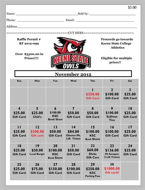 Ticket Template Gameday by Win Big While Giving Back Keene State