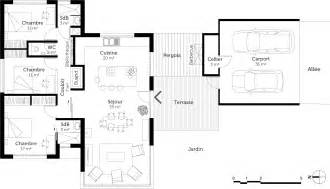 plan maison moderne de plain pied 3 chambres ooreka