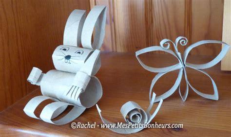 bricolage avec des rouleaux de papier toilette lapin et papillon