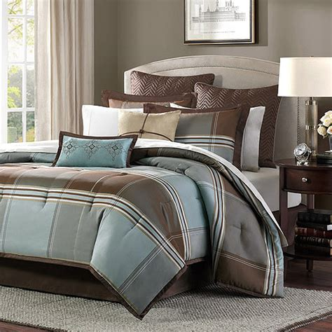 home essence daniel 8 comforter set blue brown walmart