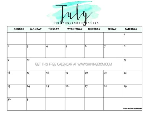 calendar template for june july august 2017 free printable july 2017 calendar 12 pretty designs