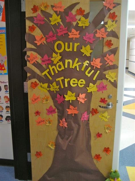 Kindergarten Thanksgiving Door Decorations by Quot The Thankful Tree Quot Students Write Something They