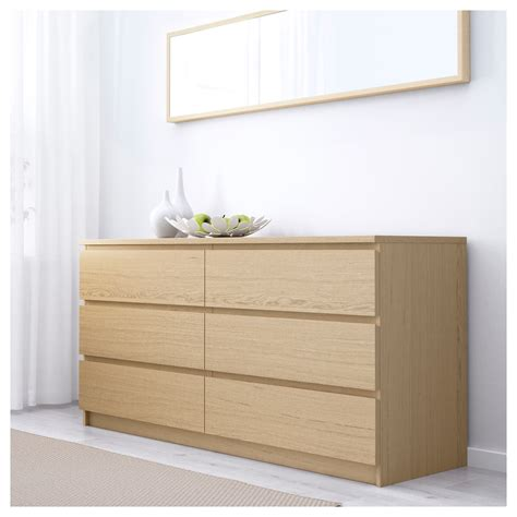 malm chest of 6 drawers white stained oak veneer 160x78 cm ikea