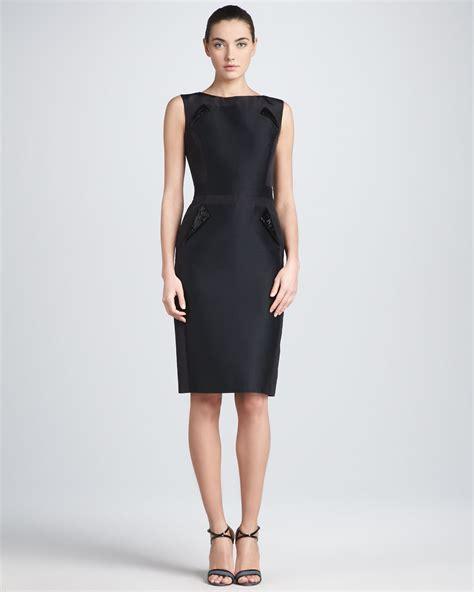 Sleeveless Dress by Carolina Herrera Sleeveless Mikado Sheath Dress Black In