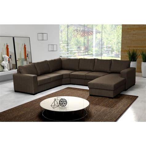 canap 233 d angle 6 places marron pas cher achat vente canap 233 sofa divan tissu