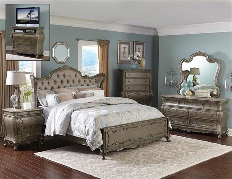Homelegance Florentina Bedroom Set-silver/gold