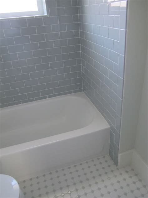 Subway Tile Tub Surround by Gray Subway Tile Contemporary Bathroom White Amp Gold