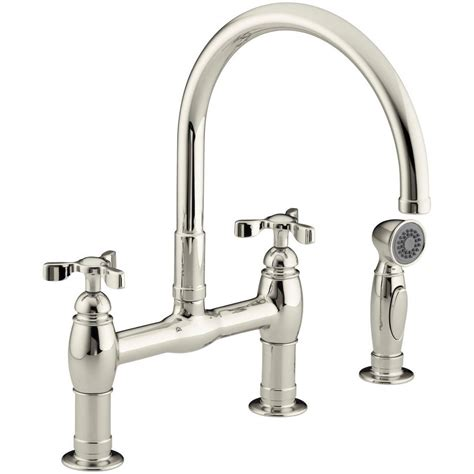kohler parq 2 handle bridge kitchen faucet with side sprayer in vibrant polished nickel k 6131 3
