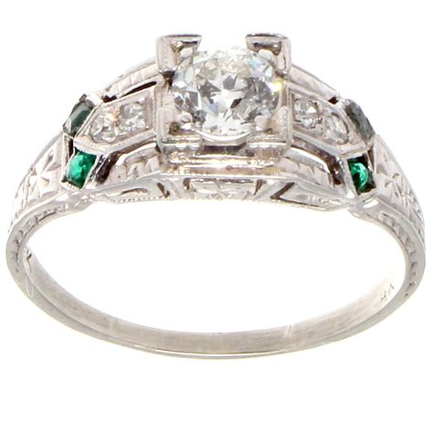 deco emerald platinum engagement ring at 1stdibs