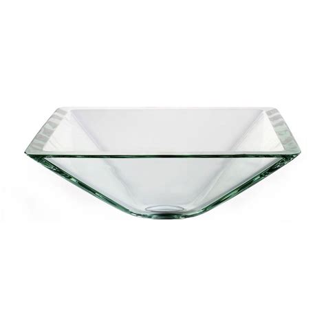 Home Depot Kraus Vessel Sink by Kraus Square Glass Vessel Sink In Clear Gvs 901 19mm The