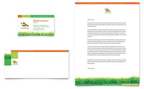 Lawn Maintenance Business Card & Letterhead Template Design
