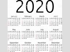 Vector Calendário 2020 Domingo Arte vetorial de stock e