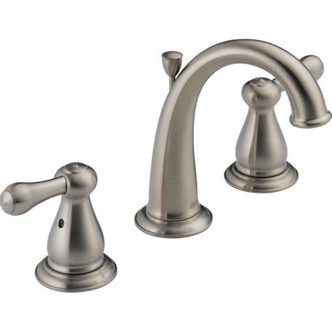 shop delta leland stainless 2 handle widespread watersense bathroom sink faucet drain included