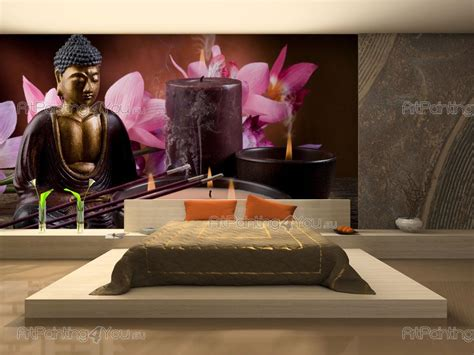 buddha statue orchids wall murals posters mcz1047en artpainting4you eu