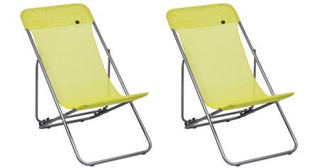 lot de 2 chaises longues pliantes lafuma transatube batyline coloris lime oogarden