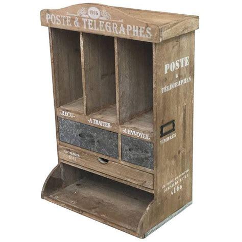 boite lettre courrier murale bois fer industriel cagne brocante