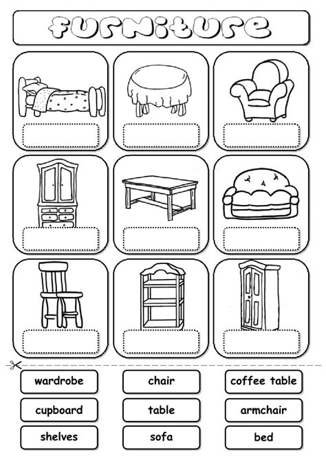Furniture (drag And Drop)  Interactive Worksheet  My Home Activities  English, Worksheets